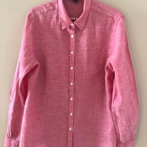 346 Brooks Brothers Linen Long Sleeve Blouse